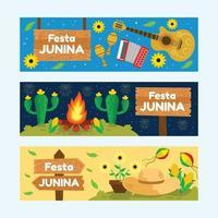 set van happy festa junina banner vector