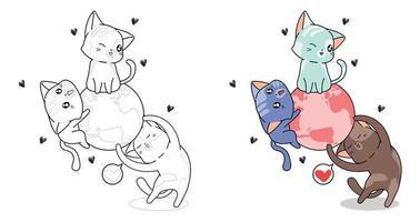 schattige drie katten en de wereld cartoon kleurplaat voor kinderen vector