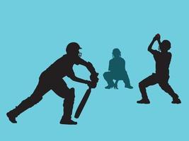 cricketspelers bij het spelen van actie op grafische vector van de illustratie