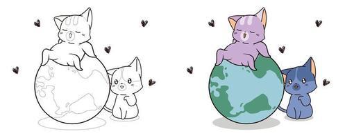 schattige katten houden van de wereld cartoon kleurplaat voor kinderen vector