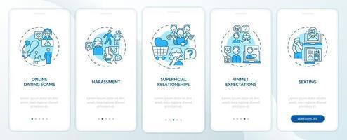 intimidatie op datingwebsite onboarding mobiele app-paginascherm met concepten. vector