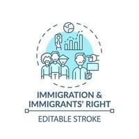 immigratie en immigranten juiste concept pictogram vector