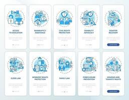 juridische diensten onboarding mobiele app-paginascherm met concepten vector