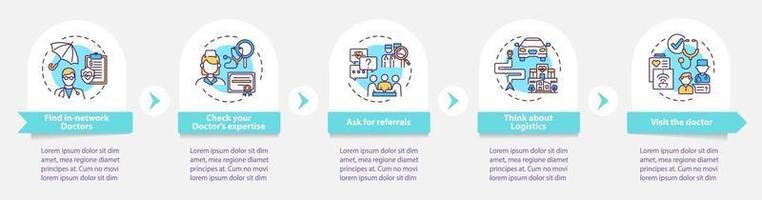kiezen eerstelijns arts tips vector infographic sjabloon