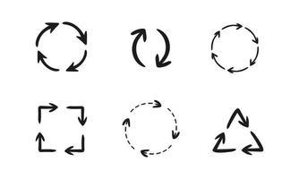 cirkelvormige pijlen pictogramserie vector