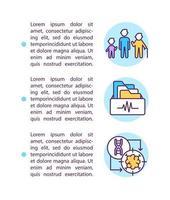 levenslange patiëntenzorg concept lijn pictogrammen met tekst vector