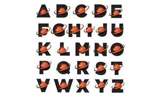 alfabet logo set met het pictogram van het az-ruimtethema van de planeet vector