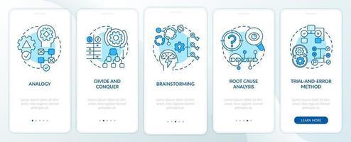 probleemoplossende strategieën blauw onboarding mobiele app-paginascherm met concepten vector
