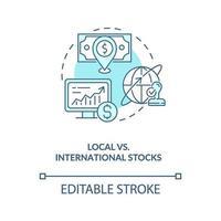 lokale versus internationale aandelen concept pictogram vector