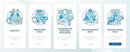 probleemoplossende vaardigheden blauw onboarding mobiele app-paginascherm met concepten vector