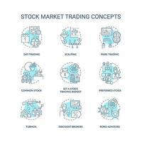 beurs handel concept pictogrammen instellen