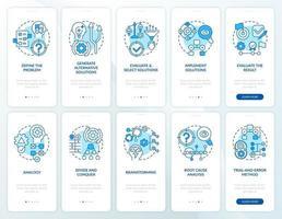 probleemoplossend blauw onboarding mobiele app-paginascherm met ingestelde concepten vector