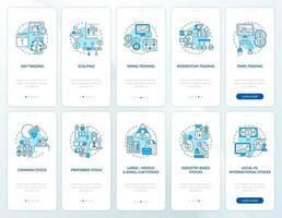 kopen, verkopen van activa onboarding mobiele app-paginascherm met ingestelde concepten vector