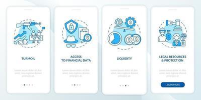 internationale activa problemen onboarding mobiele app-paginascherm met concepten vector