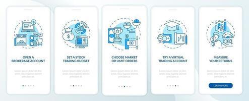 aandelenhandel pad onboarding mobiele app pagina scherm met concepten vector