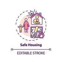 veilige huisvesting concept pictogram vector
