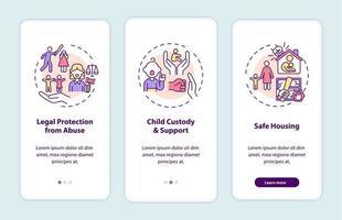 Overlevenden van huiselijk geweld ondersteunen het onboarding-paginascherm van de mobiele app met concepten vector