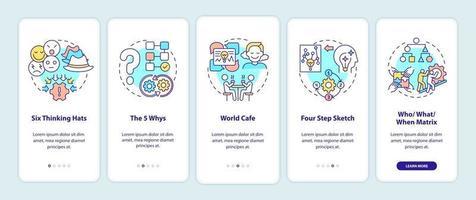probleemoplossende methoden voor het onboarding van het paginascherm van de mobiele app met concepten vector