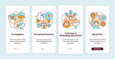 probleemoplossend obstakels onboarding mobiele app-paginascherm met concepten vector