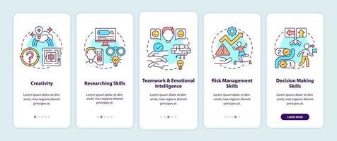 probleemoplossende vaardigheden onboarding mobiele app-paginascherm met concepten