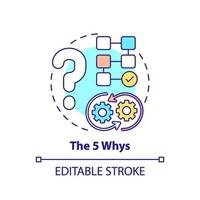 het 5 waarom concept icoon