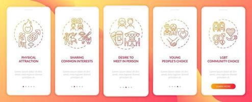 gemeenschappelijke interesses delen op het scherm van de mobiele app-pagina met concepten.