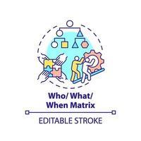 wie, wat, wanneer matrix concept pictogram