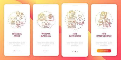 online dating risico's website onboarding mobiele app pagina scherm met concepten. vector