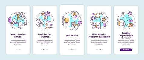 verbetering van tips voor probleemoplossende vaardigheden onboarding van het paginascherm van mobiele apps met concepten vector
