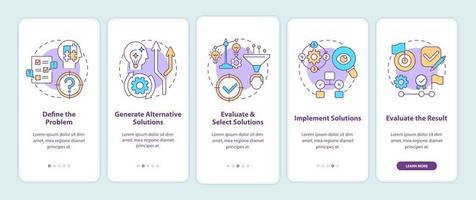probleemoplossende stappen bij het onboarding van het paginascherm van de mobiele app met concepten