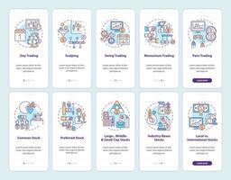 kopen en verkopen van aandelen op het scherm van de mobiele app-pagina met ingestelde concepten vector