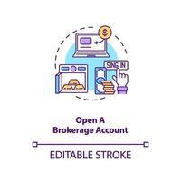 opening brokerage account concept pictogram