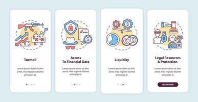 internationale aandelenuitdagingen onboarding mobiele app-paginascherm met concepten vector