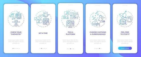 video dating tips onboarding mobiele app pagina scherm met concepten.