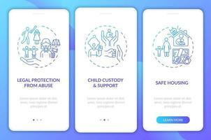 Overlevenden van huiselijk geweld ondersteunen het onboarding-paginascherm van de mobiele app met concepten