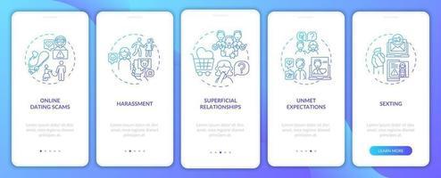 oppervlakkige relatie onboarding mobiele app-paginascherm met concepten.