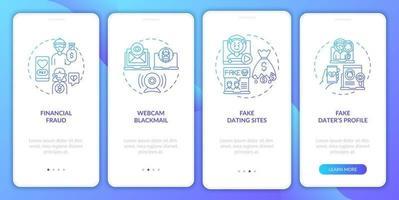 online dating risico's website onboarding mobiele app pagina scherm met concepten.