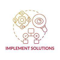 implementeren oplossingen rode kleurovergang concept pictogram