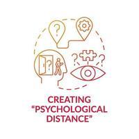 het creëren van psychologische afstand rode kleurovergang concept pictogram