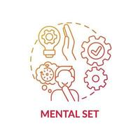 mentale set rood kleurverloop concept pictogram