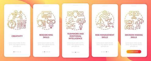 probleemoplossende vaardigheden rood onboarding mobiele app-paginascherm met concepten