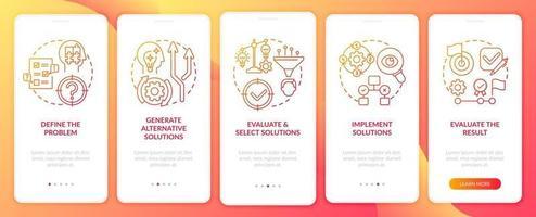probleemoplossende stappen rood onboarding mobiele app-paginascherm met concepten