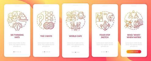 probleemoplossende methoden rood onboarding mobiele app-paginascherm met concepten
