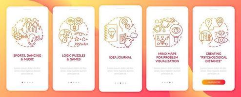 het stimuleren van probleemoplossende vaardigheidstips rood onboarding mobiele app-paginascherm met concepten