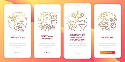 probleemoplossende obstakels rood onboarding mobiele app-paginascherm met concepten
