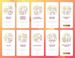 probleemoplossend rood onboarding mobiele app-paginascherm met ingestelde concepten vector
