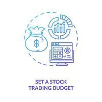 het instellen van het pictogram van het concept van de aandelenhandel budget