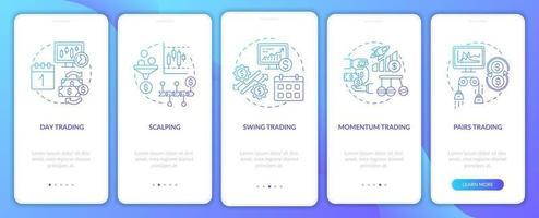 aandelenhandelstijlen onboarding mobiele app-paginascherm met concepten