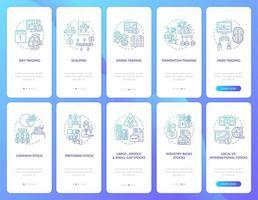 beurshandel onboarding mobiele app paginascherm met concepten ingesteld