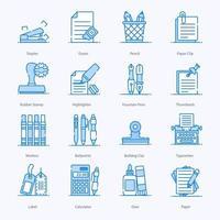 kantoorbenodigdheden en apparatuur pictogrammen vector